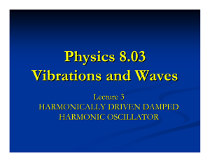 Physics 8.03 Vibrations and Waves Lecture 3 HARMONICALLY DRIVEN DAMPED