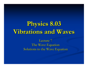 Physics 8.03 Vibrations and Waves Lecture 7 The Wave Equation