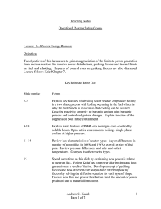 Teaching Notes Operational Reactor Safety Course