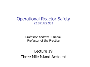 Operational Reactor Safety Lecture 19 Three Mile Island Accident 22.091/22.903