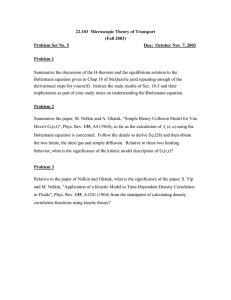 22.103  Microscopic Theory of Transport (Fall 2003) Problem Set No. 5