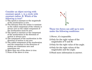 Consider an object moving with constant radius, R. Which of the