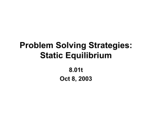 Problem Solving Strategies: Static Equilibrium 8.01t Oct 8, 2003