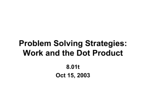 Problem Solving Strategies: Work and the Dot Product 8.01t Oct 15, 2003