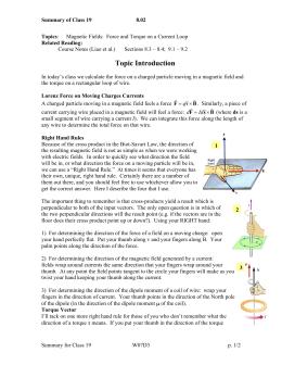 Summary of Class 19 8.02 Topics Related Reading:
