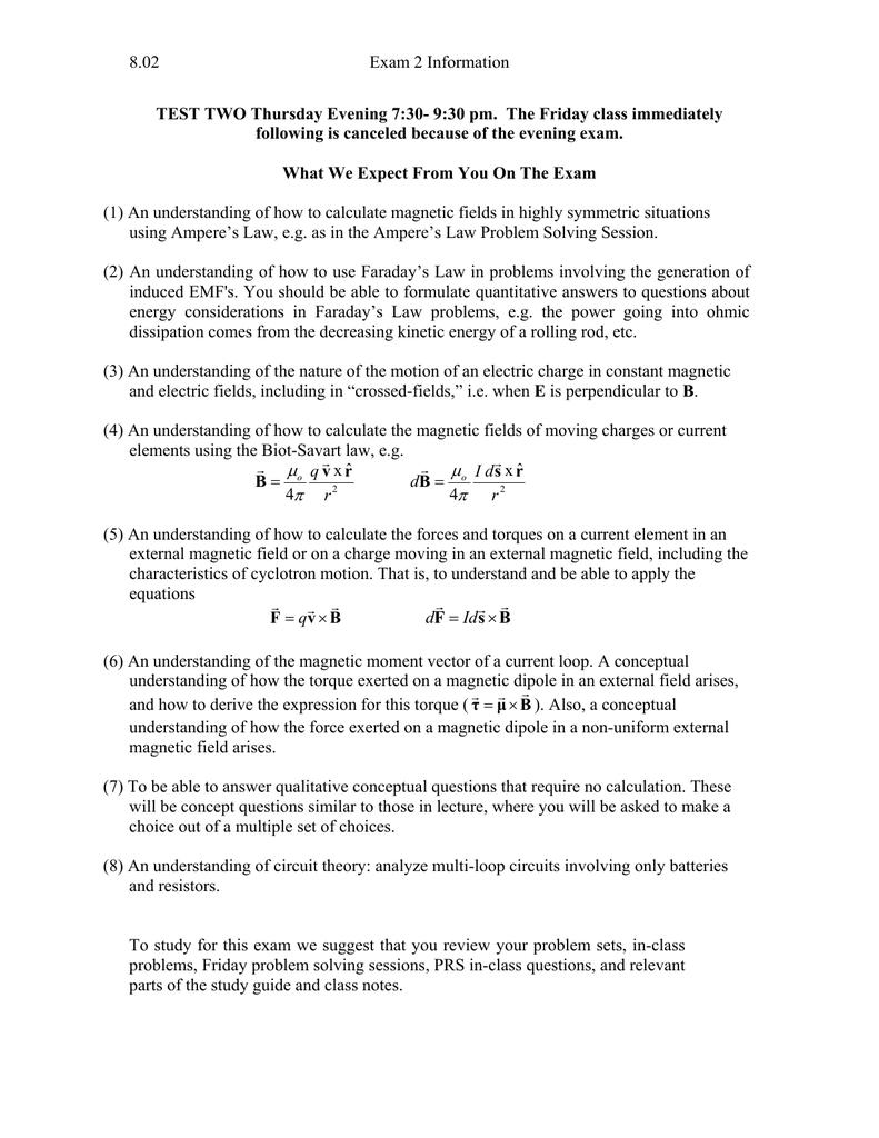 8 02 Exam 2 Information