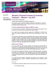 Monetary Threshold Increases for Australian Employers – Effective 1 July 2015