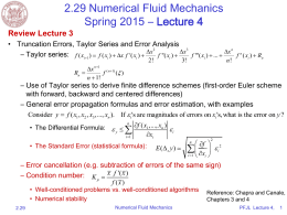 2.29 Numerical Fluid Mechanics Spring 2015 – Lecture 4 Review Lecture 3