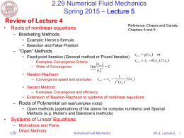 2.29 Numerical Fluid Mechanics Spring 2015 – Lecture 5