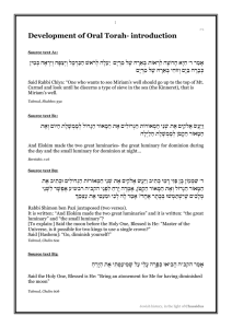 Development of Oral Torah- introduction