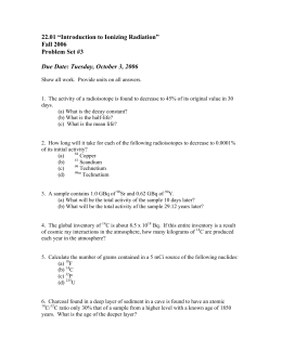"22.01 ""Introduction to Ionizing Radiation"" Fall 2006 Problem Set #3"