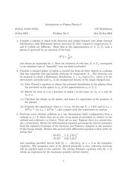 Introduction to Plasma Physics I 22.611j, 8.613l, 6.651j I.H. Hutchinson 16 Sep 2003