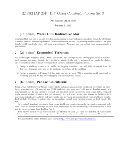 22.S902 IAP 2015 (DIY Geiger Counters), Problem Set 3 1