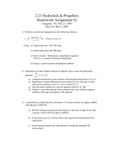 2.23 Hydrofoils & Propellers Homework Assignment #2 ∫