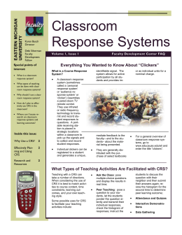 "Classroom Response Systems Everything You Wanted to Know About ""Clickers"" EASTERN MICHIGAN"