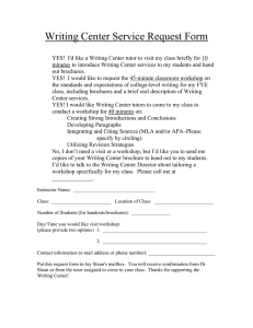 Writing Center Service Request Form