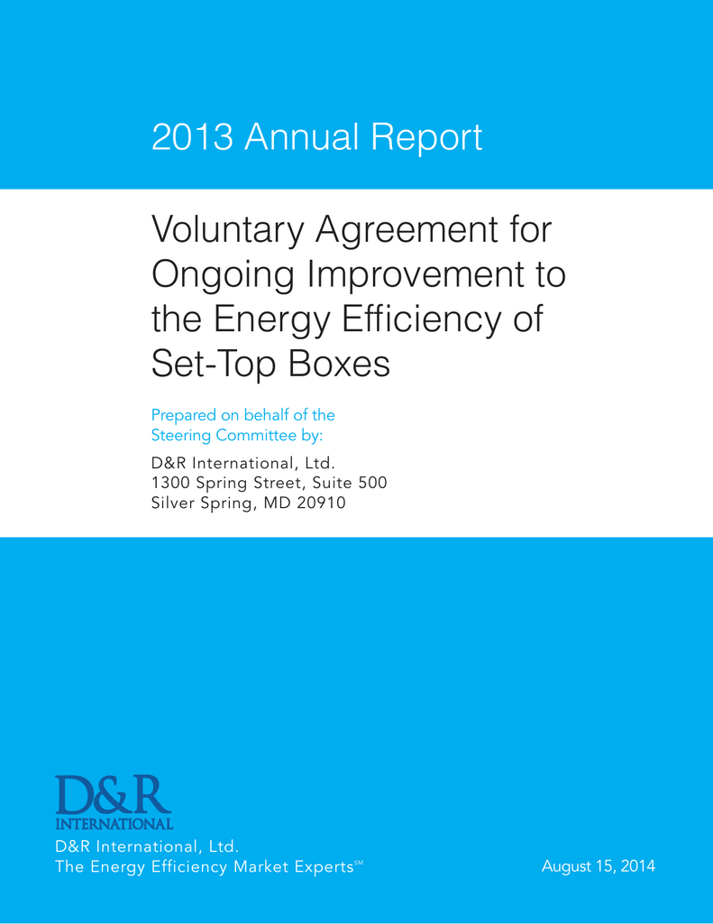 2013 Annual Report Voluntary Agreement for Ongoing