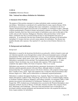 11-ID-16 Committee: Title:  National Surveillance Definition for Melioidosis