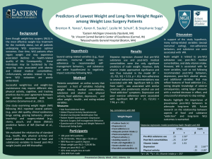 Predictors of Lowest Weight and Long-Term Weight Regain Brenton R. Yanos