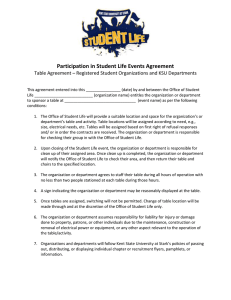 Participation in Student Life Events Agreement
