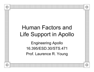 Human Factors and Life Support in Apollo Engineering Apollo 16.395/ESD.30/STS.471