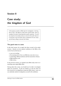 Case study: the kingdom of God Session 8