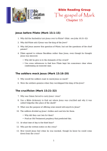 The gospel of Mark Chapter 15 Bible Reading Group