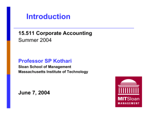 Introduction 15.511 Corporate Accounting June 7, 2004 Summer 2004