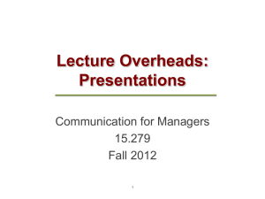 Lecture Overheads: Presentations Communication for Managers 15.279