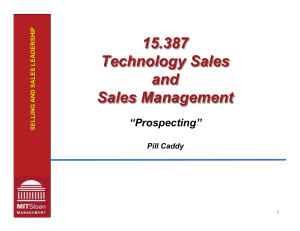 15.387 Technology Sales and Sales Management