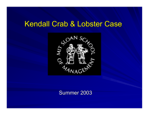 Kendall Crab & Lobster Case Summer 2003