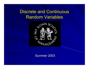 Discrete and Continuous Random Variables Summer 2003
