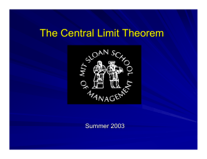 The Central Limit Theorem Summer 2003