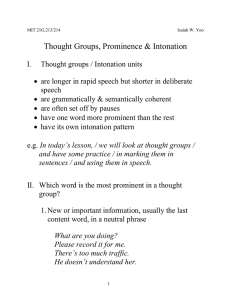 Thought Groups, Prominence & Intonation