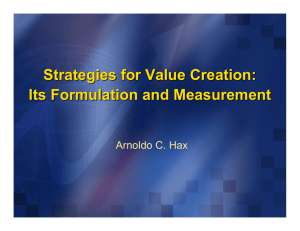 Strategies for Value Creation: Its Formulation and Measurement Arnoldo C. Hax