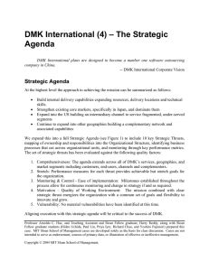 DMK International (4) – The Strategic Agenda  Strategic Agenda