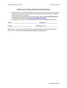 Application for The Shirley Robb Dubetz Endowed Scholarship