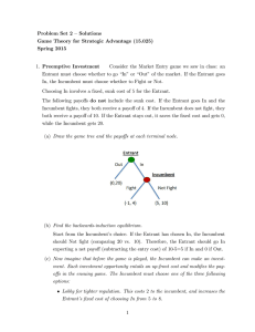 Problem Set 2 –Solutions Game Theory for Strategic Advantage (15.025) Spring 2015