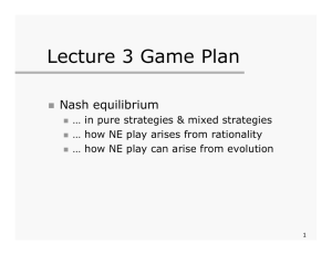 Lecture 3 Game Plan Nash equilibrium