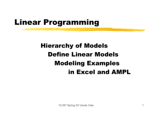 Linear Programming Hierarchy of Models Define Linear Models Modeling Examples