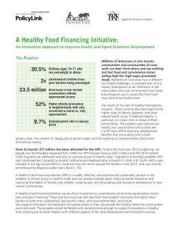 A Healthy Food Financing Initiative: 30.5% The Problem