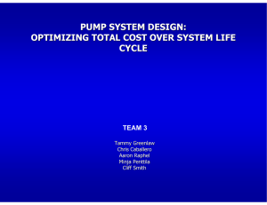PUMP SYSTEM DESIGN: OPTIMIZING TOTAL COST OVER SYSTEM LIFE CYCLE TEAM 3