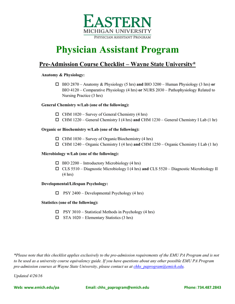 Physician Assistant Program Pre-Admission Course Checklist