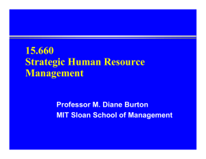 15.660 Strategic Human Resource Management Professor M. Diane Burton