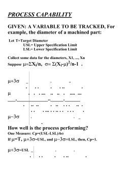 PROCESS CAPABILITY GIVEN: A VARIABLE TO BE TRACKED, For