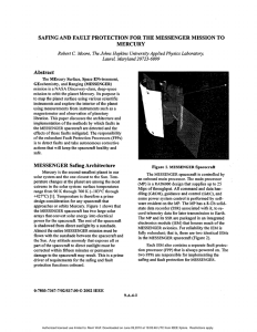 SAFING AND FAULT PROTECTION FOR THE MESSENGER MISSION TO MERCURY Abstract