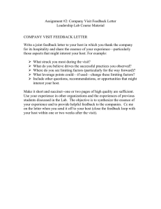 Assignment #2: Company Visit Feedback Letter Leadership Lab Course Material