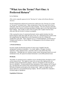 """What Are the Terms? Part One: A Preferred Return"""