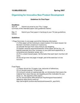 Organizing for Innovative New Product Development 15.980J/ESD.933 Spring 2007