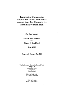 Investigating Community: Imperatives For but Constraints A.gainst Land Use Change in the